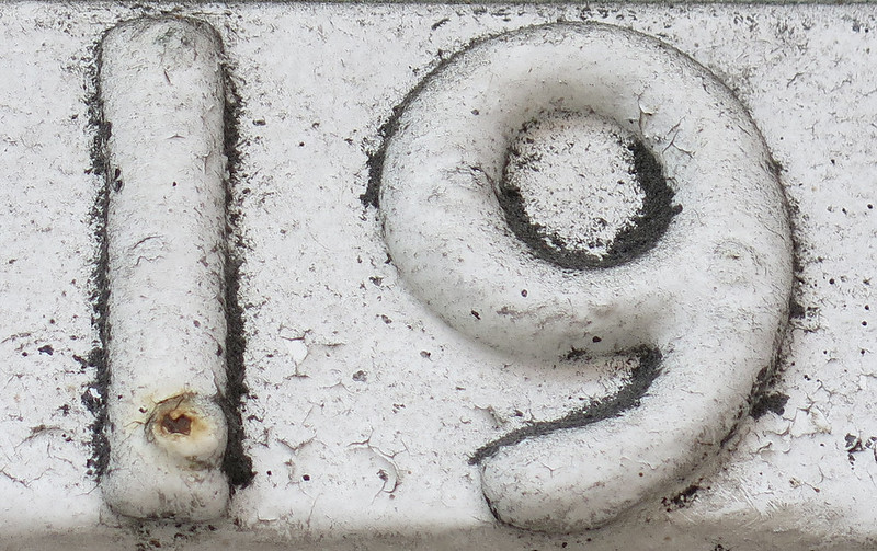 wall sculpture of the number 19